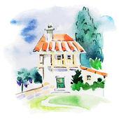 Painted watercolor vineyard landscape
