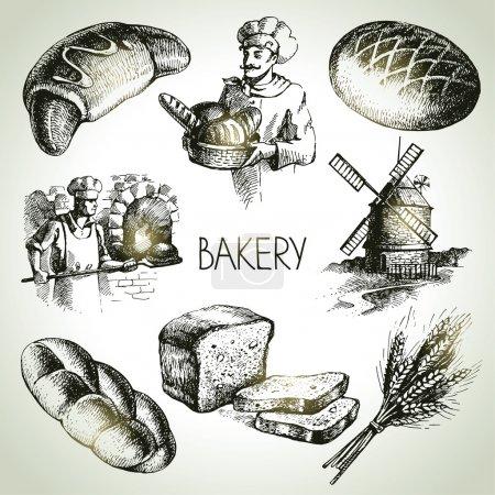 Bakery sketch icon set.