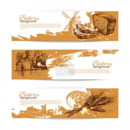 Set of bakery sketch banners.