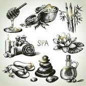 Spa sketch icon set