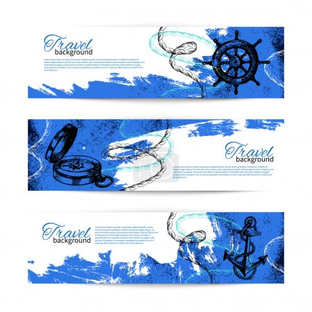 Set of travel vintage banners. Sea nautical design.