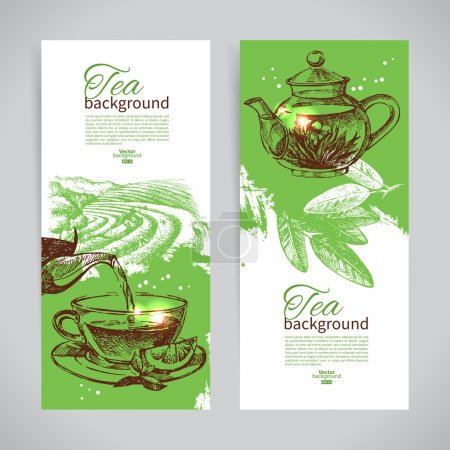 Illustration for Set of tea vintage banners. Hand drawn sketch illustrations - Royalty Free Image