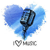 Music background with splash watercolor heart and sketch microphone