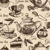 Tea and cake seamless pattern