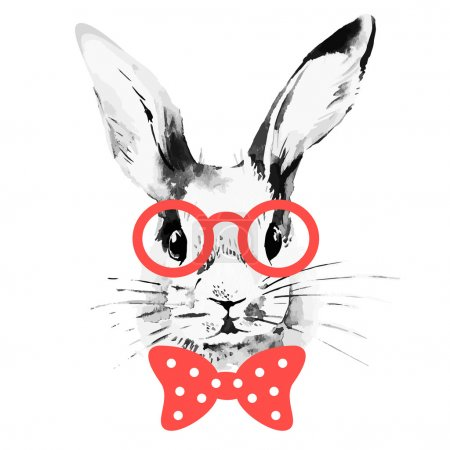 Illustration for Hipster rabbit. Hand drawn watercolor sketch portrait - Royalty Free Image