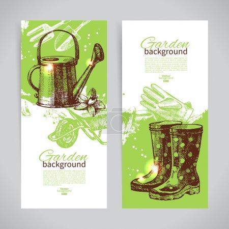 Illustration pour Ensemble de croquis, modèles de bannière de jardinage. illustrations vintage dessinées à la main - image libre de droit