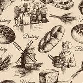 Bakery sketch seamless pattern