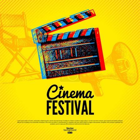 Illustration pour Affiche du festival du cinéma. Fond vectoriel avec illustrations de croquis dessinées à la main - image libre de droit