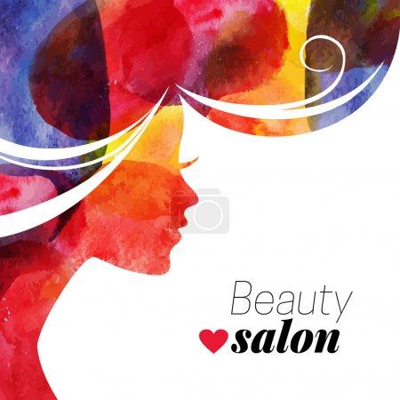 Illustration pour Aquarelle belle fille. Illustration vectorielle de salon de beauté femme - image libre de droit