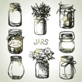 Rustic, mason and canning jars hand drawn set.