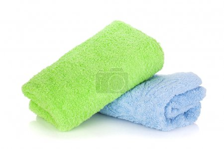 Blue and green towels