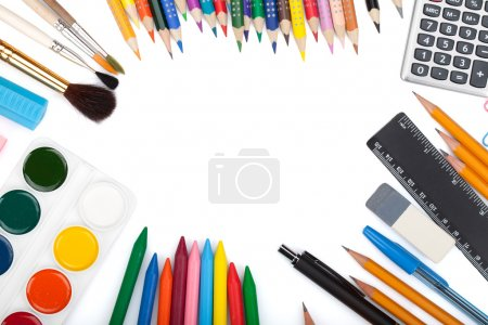 Photo for School and office tools. View from above. Isolated on white background - Royalty Free Image