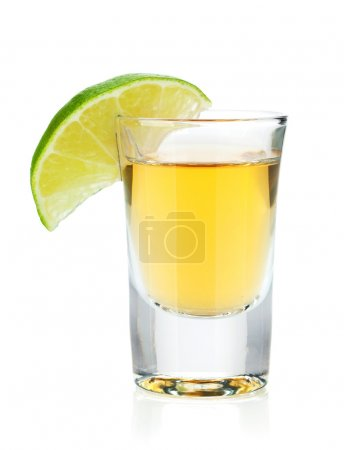 Photo for Shot of gold tequila with lime slice. Isolated on white background - Royalty Free Image