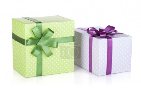 Two colorful gift boxes with ribbon and bow