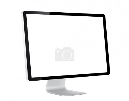 Photo for Computer display with white blank screen. Isolated on white background - Royalty Free Image