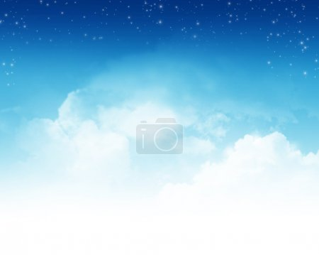 Cloudy sky with stars abstract background