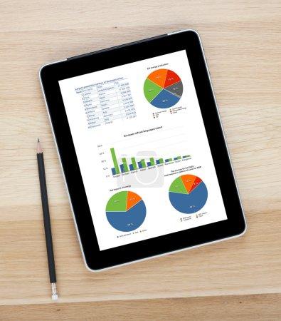 Photo pour Tablette écran tactile avec écran vierge et crayon sur table en bois - image libre de droit