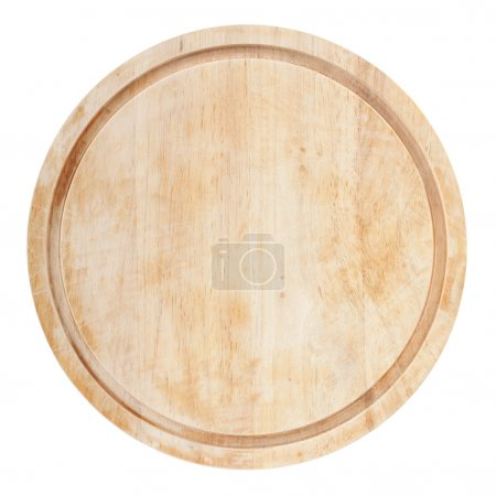 Photo for Round chopping board. Isolated on white background. View from above - Royalty Free Image