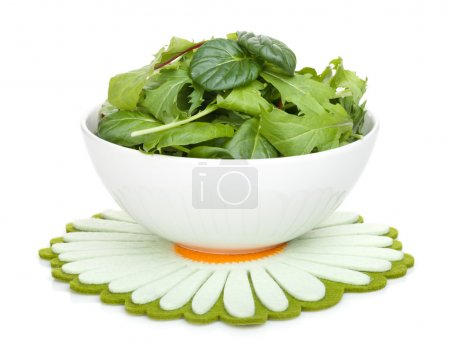 Photo for Fresh green salad in a bowl. Isolated on white background - Royalty Free Image