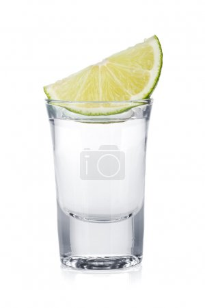 Photo for Shot of vodka and lime slice. Isolated on white background - Royalty Free Image