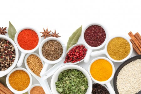 Photo for Various spices selection. Isolated on white background - Royalty Free Image