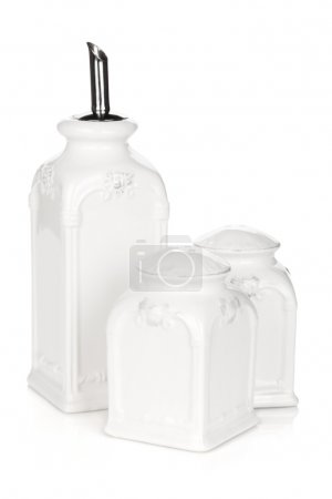 Set of salt, pepper and oil utensil