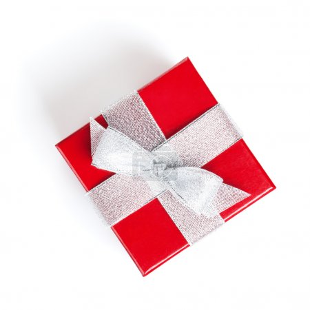 Photo for Red gift box with silver ribbon. Isolated on white background. View from above - Royalty Free Image