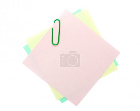Photo for Colorful post-it notes with clip. Isolated on white background - Royalty Free Image
