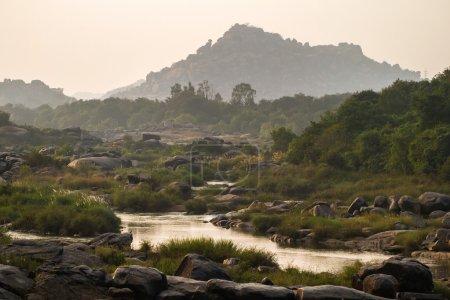 Thungabhandra river landscape in Hampi, Karnataka, India