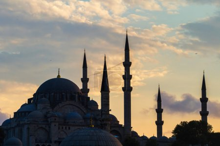 Silhouette of a mosque at the sunset
