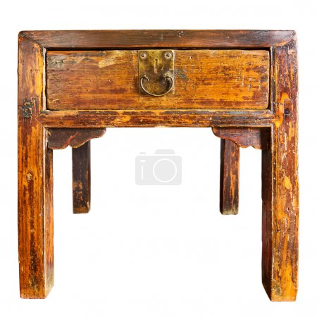 Antique wooden table isolated on white