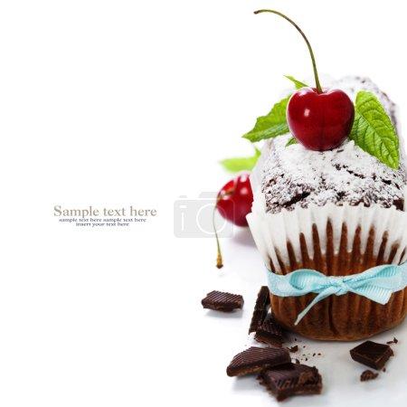 Photo pour Gâteau au chocolat avec des baies fraîches. avec le texte d'exemple amovible facile - image libre de droit