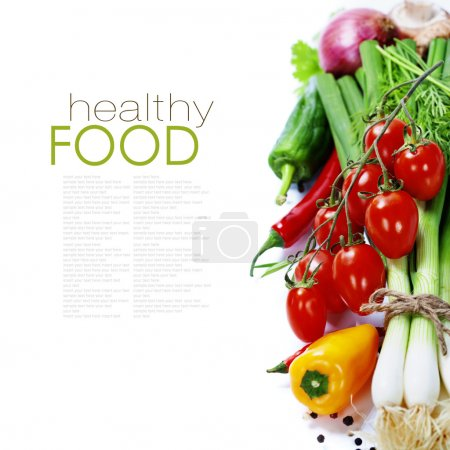Photo for Fresh vegetables on the white background - healthy or vegetarian eating concept (with easy removable sample text) - Royalty Free Image