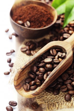 Coffee beans and an old wooden scoop...