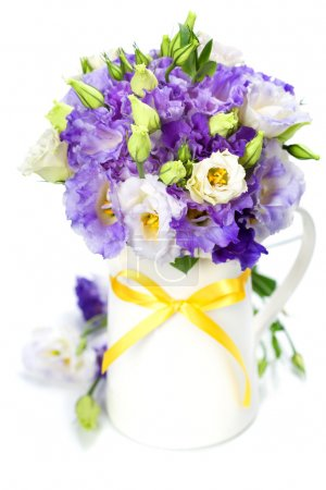 Photo for Beautiful eustoma flowers bouquet over white - Royalty Free Image