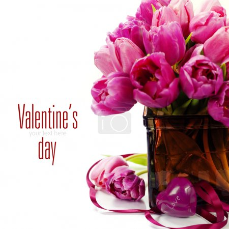 Photo for Pink tulips Valentine's day over white (with easy removable text) - Royalty Free Image