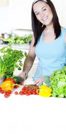 Photo for Young Woman Cooking. Healthy Food - Vegetable Salad. Diet. Dieting Concept. Healthy Lifestyle. - Royalty Free Image