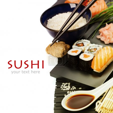Photo for Sushi rolls with sushi ingredients - Royalty Free Image