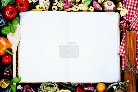 Photo for Fresh Organic Vegetables and Spices on a Wooden Background and Paper for Notes. Open Notebook and Fresh Vegetables Background. Italian ingredients - Royalty Free Image