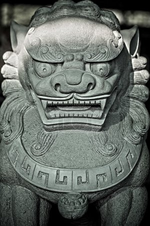 Traditional Asian statue from a stone.