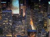 """Постер, картина, фотообои """"Ночная точка зрения города Нью-Йорка"""""""