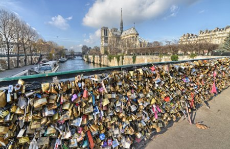 PARIS - DEC 1: Lockers at Pont des Arts symbolize love for ever,