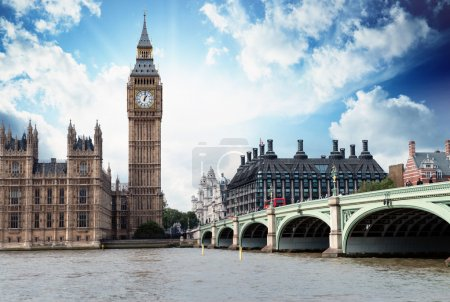 Photo for The Big Ben, the Houses of Parliament and Westminster Bridge in London. - Royalty Free Image