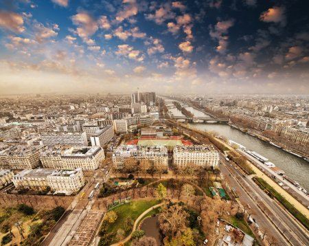 Photo for Wonderful aerial view of Paris from the top of Eiffel Tower - Winter Season. - Royalty Free Image