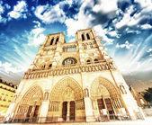 Notre Dame Cathedral - Paris. Wonderful winter sky