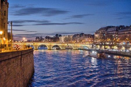 Paris. Seine river at night