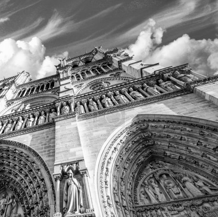 Upward view of Notre Dame Cathedral in Paris