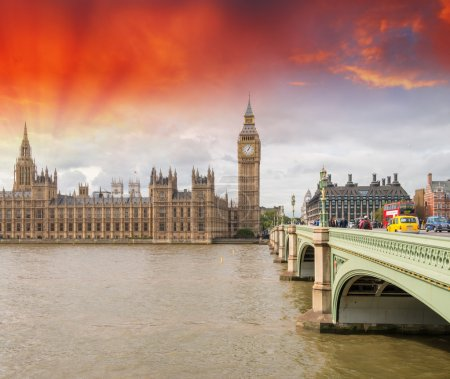 London. Westminster Bridge and Houses of Parliament with Thames