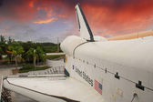 Sky colors over Space Shuttle