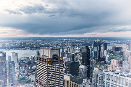 Manhattan. Aerial view of New York City skyline with urban skysc